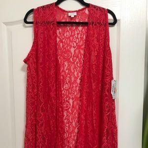 NTW LuLaRoe Large Red Lace Joy Long vest